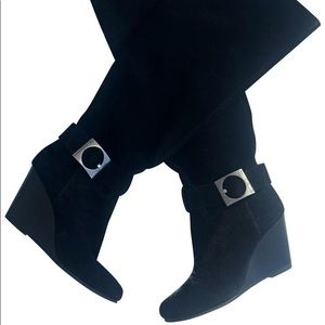 BCBG Knee High Wedge Boots Size 9 Black Suede